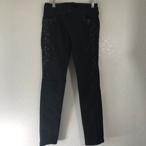Grace in LA Black Embroidered Skinny Jeans 28